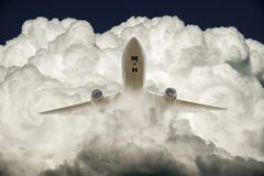 Air plane and cloud Stock Images