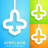 Air plane cut out of paper on color background. Stock Photo