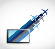 Air plane destinations out from a tablet. Illustration design over a white background stock illustration