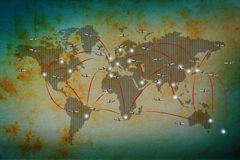 Air plane flying on classic world map royalty free illustration