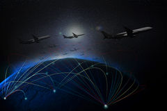 Air plane flying over earth space Stock Image