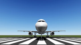 Air plane. Front view on the runway Stock Photography