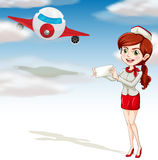 Air plane and girl vector illustration