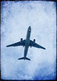 Air plane with grunge effect stock image