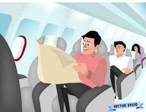 Air plane interior design concept. Graphic design vector of man sitting in air plane seat and reading newspaper, air plane interior design concept Royalty Free Stock Images