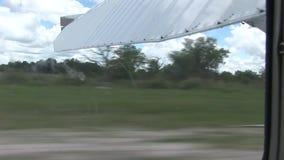 Air plane in Kenya Botswana savannah Africa stock video