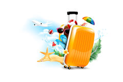 Air plane open luggage travel case with Starfish flower palm. Leaf sand beach element on the white background for summer tour concept vector illustration Stock Images