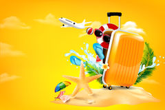 Air plane open luggage travel case with Starfish flower palm. Leaf sand beach element on yellow background for summer travel concept vector illustration Stock Image