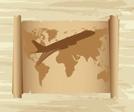 Air plane over map Stock Photo