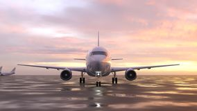 Airplane on the runway Stock Illustration