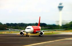 Air plane on runway ready for take-off Royalty Free Stock Photography