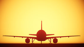 Air plane silhouette light Stock Photography