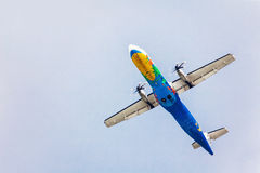 Air plane on sky background Royalty Free Stock Image