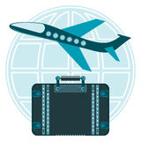 Air Plane taking off and the suitcase for travel on a globe. Stacked round the world royalty free illustration