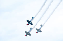 Air planes flying in a show Royalty Free Stock Image