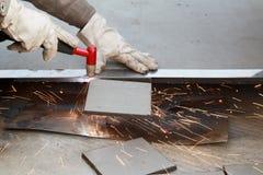 Air plasma arc cutting of steel plate Stock Photo