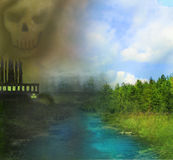 Air polluting factory chimneys. Illustration Stock Photo