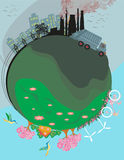 Air polluting factory chimneys. Vector Illustration Stock Image