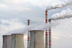 Air pollution. Industrial air pollution from coal burning Royalty Free Stock Image