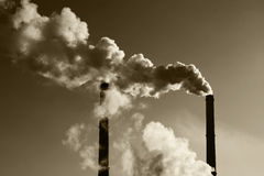 Air pollution. From factory smoke pipes Royalty Free Stock Photo