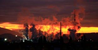 Air pollution. Factory Mondi in city Ruzomberok, Slovakia stock photography