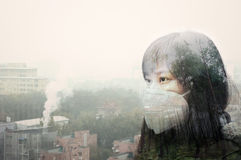 Air pollution thinking. Asian girl wearing mouth mask against haze air pollution in beijing Royalty Free Stock Photography