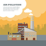 Air Pollution Banner. Factory with Smog Pipes Royalty Free Stock Photos