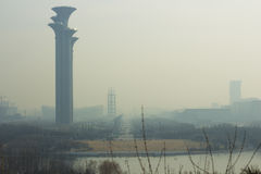 Air pollution of Beijing,China. The view of olympic park of beijing with air pollution stock images