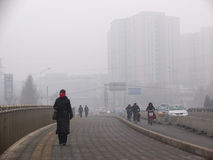 Air pollution in Beijing royalty free stock images