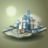 Air pollution in big city. Vector isometric illustration of envi Royalty Free Stock Photography