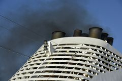Air Pollution Caused by a Cruise Ship Stock Photos