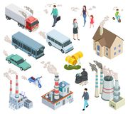 Air Pollution. Chemical Pollutants Vehicle Polluted Air People Acid Radioactive Oil Rain And Plant Pollutions Isometric Stock Photos