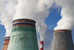 Air pollution. From chimney in a factory stock photos