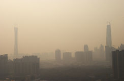 Air pollution of china. Air pollution of guangzhou city,guangdong,china Stock Photography