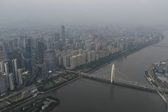 Air Pollution in China. Smog covering Guangzhou City during early evening. Picture taken from Canton Tower royalty free stock images