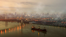 Air pollution. In the city background Stock Photo