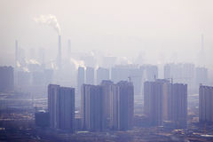 Air pollution. The city buildings in serious air pollution Stock Image