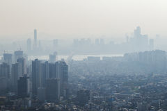 Air pollution in city of Seoul stock image