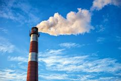 Air pollution in the city. Smoke from the chimney royalty free stock images