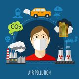 Air Pollution Concept. With factory and carbon dioxide symbols flat vector illustration stock illustration