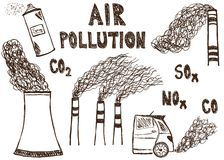 Air pollution doodle Royalty Free Stock Image
