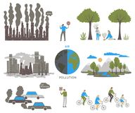 Air pollution. Ecology problem concept. Factories and cars pollute the environment. Vector illustration Stock Image