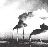 Air pollution from factories - etching Stock Image