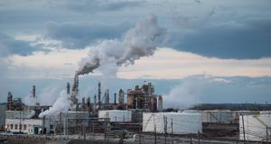 Air pollution from factory. In the US royalty free stock photo