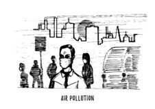 Air pollution, hand drawn illustration. Sketch of smoggy city, contamination environment theme in vector. Air pollution, hand drawn illustration. Sketch of stock illustration
