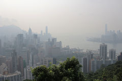 Air pollution hangs ove Hong Kong from Sir Cecil's Ride Stock Images