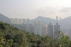 Air pollution hangs ove Hong Kong from Sir Cecil's Ride Royalty Free Stock Photo