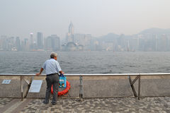 Hong Kong air pollution. Serious air pollution in Hong Kong, China. Photo taken at Victoria Habour on 8 June 2014, when the Air Quality Health Index (AQHI) hit Royalty Free Stock Photo