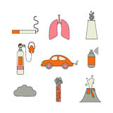 Air pollution icon set. Stock vector illustration of emissions from cars, factory, household spray, volcano, smoking Royalty Free Stock Images
