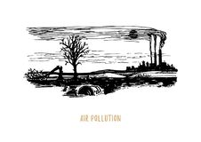 Air pollution illustration.Sketch of contamination environment theme in vector.Drawing of polluted industrial landscape. Air pollution illustration. Drawn stock illustration
